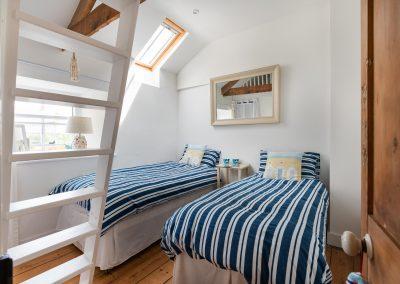 Twin bedroom view from doorway